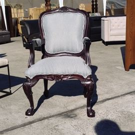 "Mahogany Frame Armchair; Blue & White Fabric Accents; 24""W x 30""D x 41""H; $100; ref #: 18530"