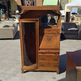 "Office Secretary/Curio; Made of Oak; Comes with 4 Shelves; All the Drawers/Doors Lock; Includes 1 Key; 41""W x 15""D x 64""H; $600; ref #: 19956"