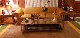 Vintage Chrome Coffee Table, leather sofa