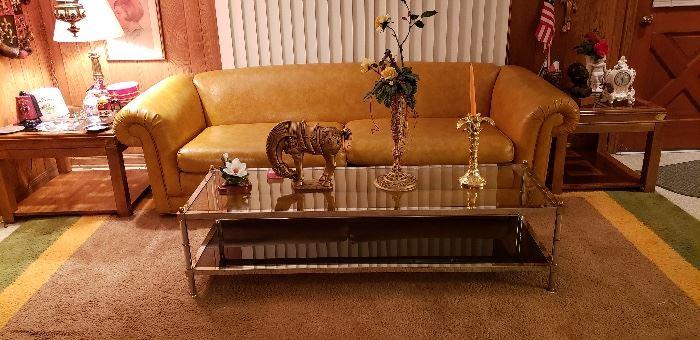 Vintage Chrome Coffee Table, leather sofa