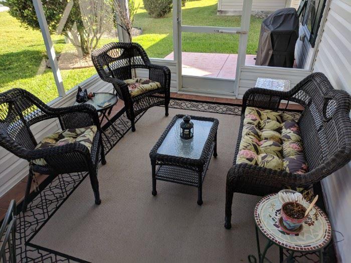 Black wicker patio set