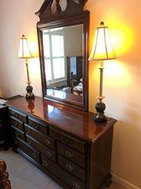 Dresser with attached mirror