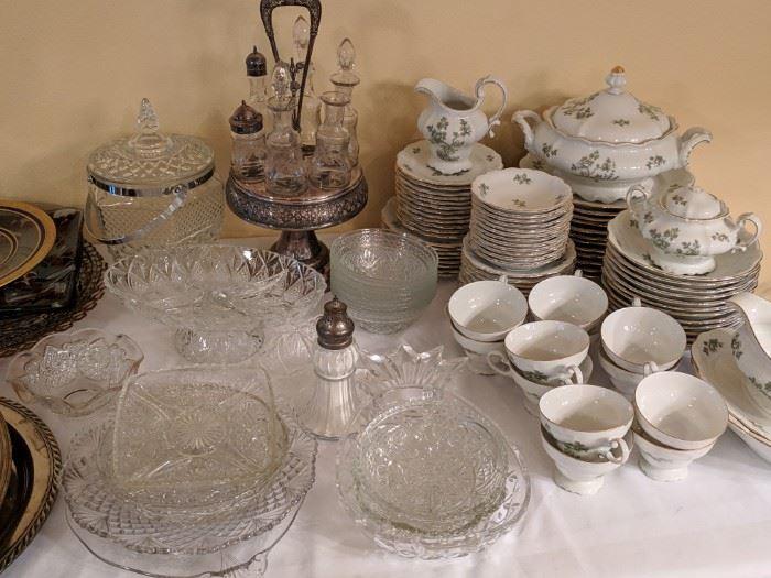 Large China set for 12, various serving dishes, antique cruet set