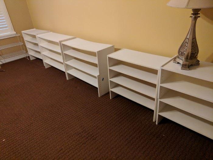 Numerous stackable storage shelves