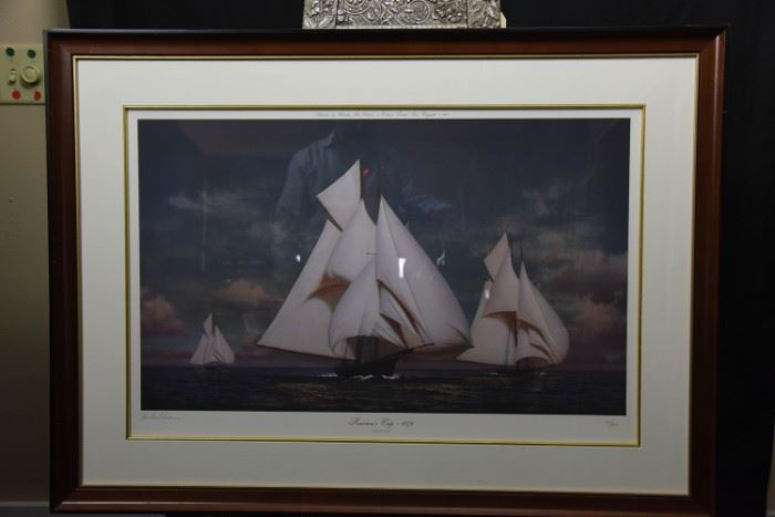 "Large Marine Signed Limited Edition Lithograph by Michael Keane Entitled ""America's Cup 1876"""
