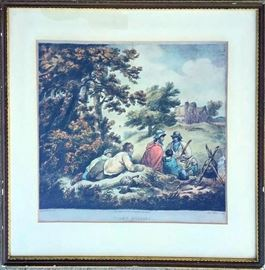 "18th Century Antique Hand Colored Engraving by George Morland Entitled ""Tired Gypsies"""