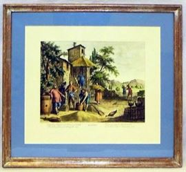 "Antique Signed Hand Colored Engraving Entitled ""Agosto"""