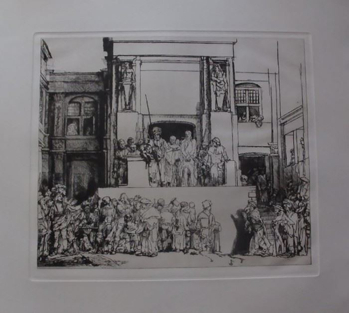 "Rembrandt Etching Entitled ""Christ Presented To The People"" by Amand Durand"