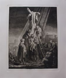 "Rembrandt Etching Entitled ""The Descent From The Cross"" by Amand Durand"
