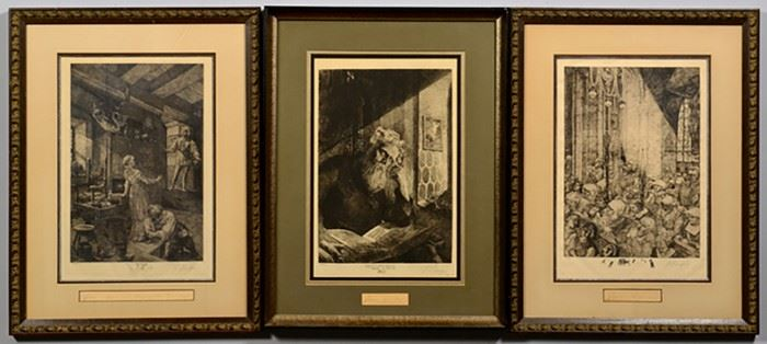 Three Signed Limited Edition Ferdinand Staeger Etchings from The Mastersinger Series