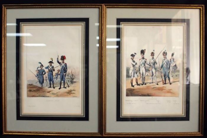 "Pair of 19th Century French Hand Colored Lithographs of Military Figures by Alfred De Marbot Engravings ""Infanterie"""