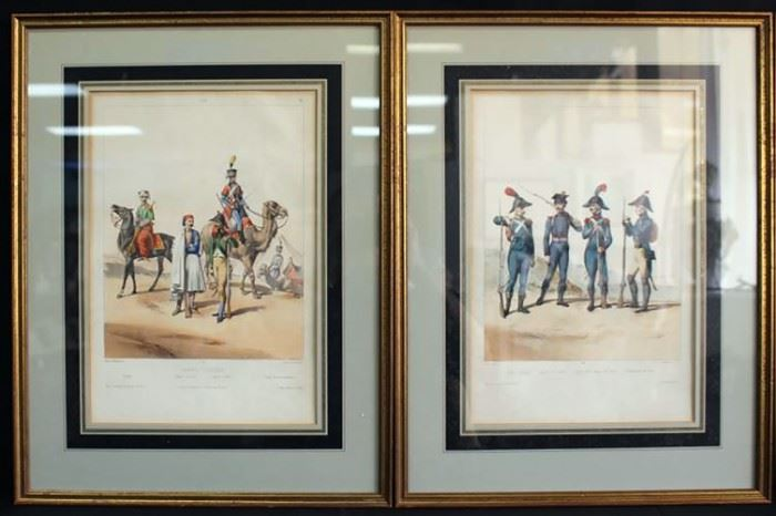 "Pair of 19th Century French Hand Colored Lithographs of Military Figures by Alfred De Marbot Engravings ""Armee D'Orient"""