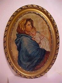 "Italian Portrait Oil Painting by Alfredo Coltune After Robert Ferruzzi's ""Madonna of the Streets"""