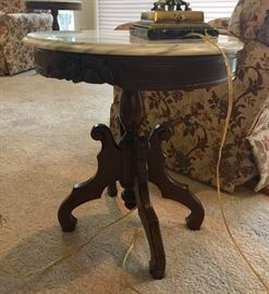 Italian marble oval side table