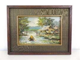 Vintage Framed Oil on Board Painting by Listed Artist Nogsuan