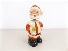 Vintage Paper Mache Hand Painted Santa Clause Bobblehead
