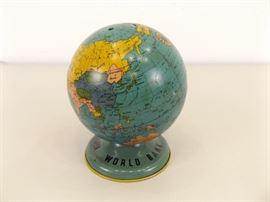 Vintage Ohio Art Tin Globe Coin Bank