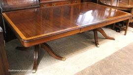 Custom Made Solid Mahogany Large Banded Dining Room Table with 3 Leaves  Located Inside – Auction Estimate $400-$800