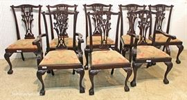 Set of 8 Antique Style Solid Mahogany Chippendale Ball & Claw Dining Room Chairs  Located Inside – Auction Estimate $300-$800