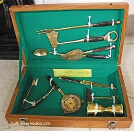 Brass Vintage Liquor Mixer Set in Box – just in time for the holidays  Located Glassware –  Auction Estimate $50-$100