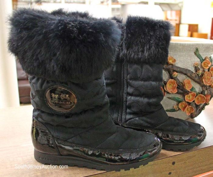 PAIR – Like New – COACH Winter Boots in the Black with Fur Tops  Located in Glassware – Auction Estimate $100-$200