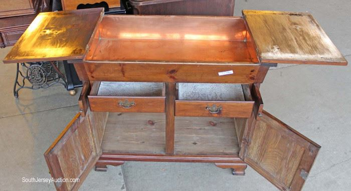 Country Pine Flip Top Antique Style Copper Lined Dry Sink  Located on the Dock – Auction Esitmate $100-$200