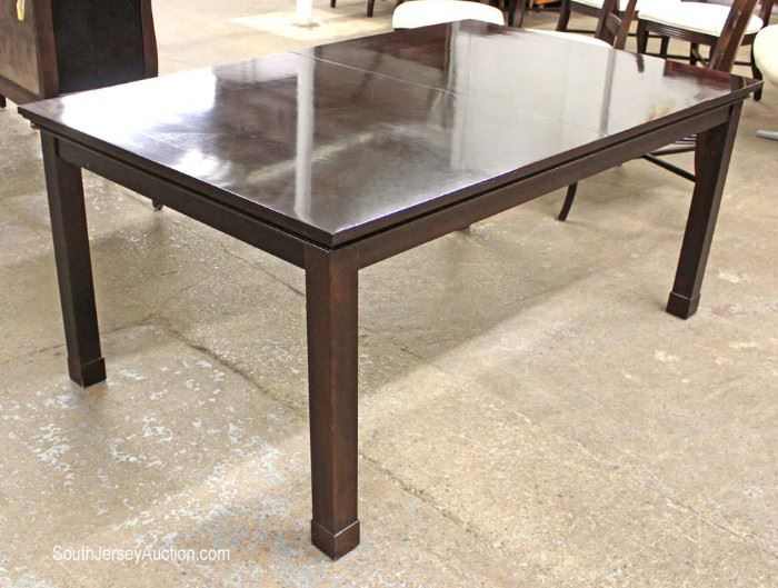 "Contemporary 9 Piece Dining Room Set Table with 2 Skirted Leaves and 8 Chairs in the Espresso Mahogany Finish by ""Lexington"" made in the USA Located Inside – Auction Estimate $300-$600"