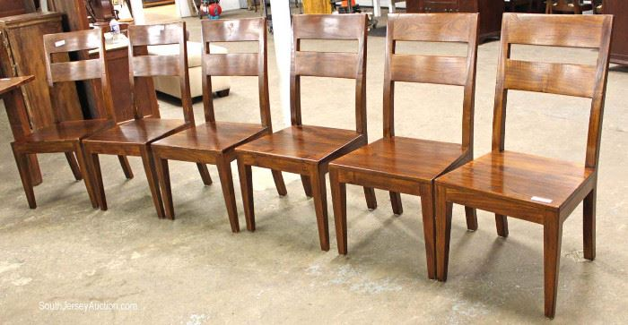 "Contemporary 7 Piece Country Farm Style Dining Room Set with 6 Solid Mahogany Chairs by ""Crate & Barrel""  Located Inside – Auction $400-$800"