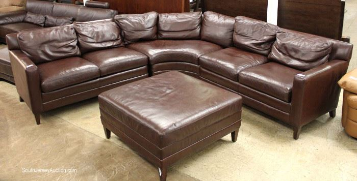 "Very Nice Quality 3 Section Leather Sectional Sofa with Match Square Leather Ottoman by ""Stickley""  Maybe Offered Separate – Located Inside – Auction Estimate $1000-$3000"