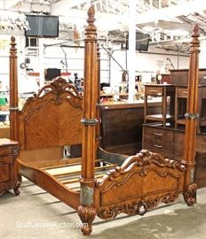 Highly Carved and Ornate Contemporary Traditional Antique Style 3 Piece Queen Bed Bedroom Set with Marble Accents  Located Inside – Auction Estimate $400-$800
