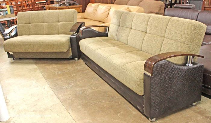 "Contemporary Modern Design Sofa and Love Seat with Retractable Futon Bed by ""Bellona""  Located Inside – Auction Estimate $400-$800"
