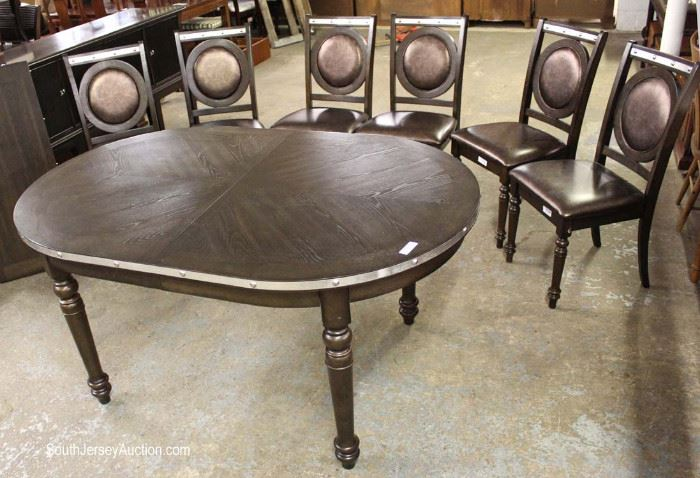 Contemporary Modern Design 7 Piece Dining Room Set with 6 Medallion Padded Chairs and Stainless Steel Accents with Leaf  Located Inside – Auction Estimate $300-$600