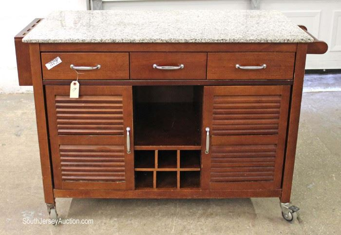 Contemporary Mahogany Base Rolling Granite Top Kitchen Wine Cabinet with Knife Holders  Located Inside – Auction Estimate $100-$300