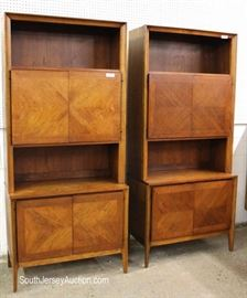 FANTASTIC PAIR of 2 Piece Mid Century Modern Danish Walnut Stack Cabinets  Located Inside – Auction Estimate $500-$1000