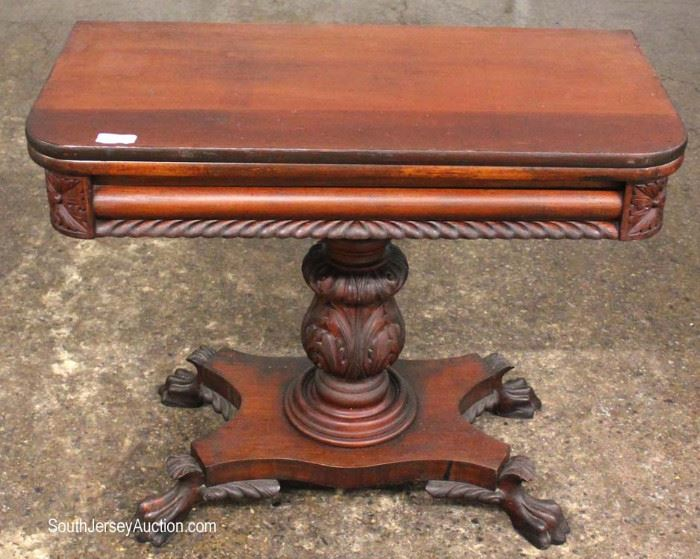 ANTIQUE SOLID Mahogany Federal Game Table with Winged Paw Feet  Located Inside – Auction Estimate $100-$300