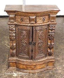 ANTIQUE Highly Carved and Ornate 2 Drawer 2 Door Side Cabinet  Located Inside – Auction Estimate $200-$400