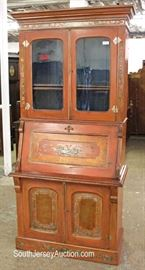 ANTIQUE Victorian Cottage Style Painted 2 Piece Secretary Bookcase  Located Inside – Auction Estimate $300-$600