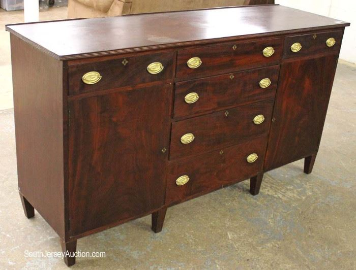 ANTIQUE Burl Mahogany Sheraton Style Buffet  Located Inside – Auction Estimate $300-$600