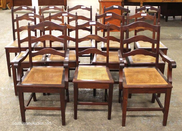 13 Piece Large 4 Part Oval SOLID Mahogany Dining Room Table with 12 Cane Bottom Mahogany Chairs (table now shown)  Located Dock – Auction Estimate $200-$400