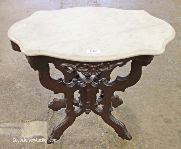 ANTIQUE Victorian Turtle Top Marble Top Table  Located Inside – Auction Estimate $100-$300
