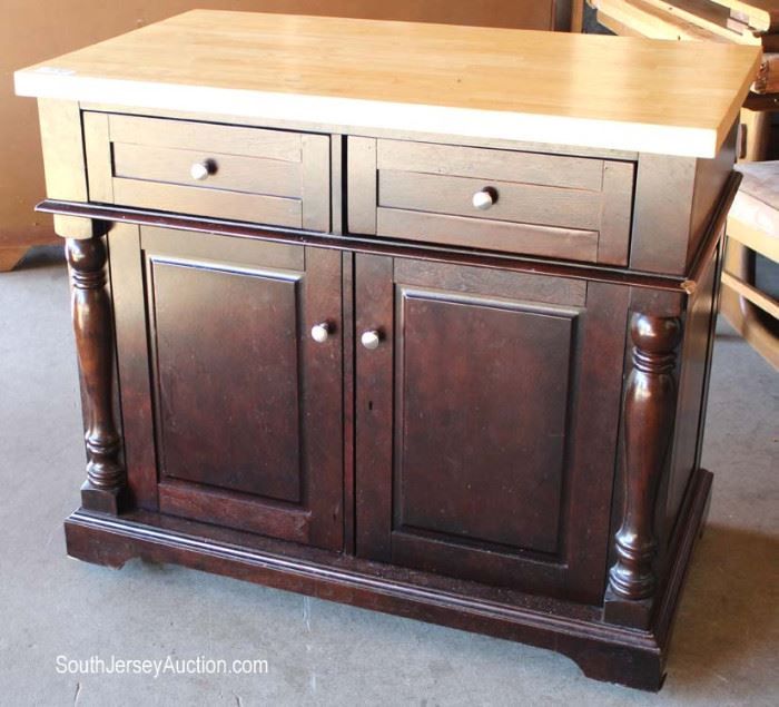 Contemporary Butcher Block Top Mahogany Base Kitchen Island  Located Dock – Auction Estimate $100-$300