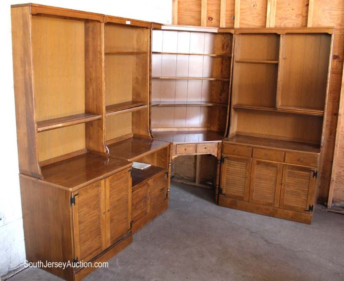 "8 Piece Cherry Corner Wall Unit by ""Ethan Allen Furniture""  Located Dock – Auction Estimate $200-$400"