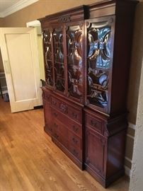 Dining Room cabinet with unique curved glass doors