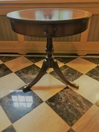 Leather-top side table with drawer