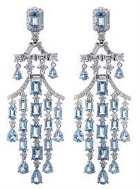 45CT Aquamarine & Diamond Earrings