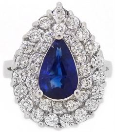 GIA 3CT Sapphire and 4.2CT Diamond Ring