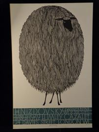 Jacques Hnizdovsky signed woodblock exhibition poster, London 1969