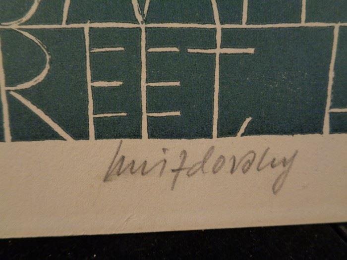 Jacques Hnizdovsky signed woodblock exhibition poster, London 1969