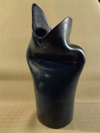 Artist signed patinated bronze vase