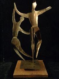Mid century brutalist brass sculpture